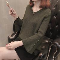 V领小毛衣女士2018新款女装春装低领短款打底衫长袖秋冬百搭时尚