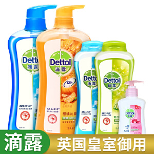 滴露(Dettol)沐浴露家庭装2.6kg(包含自然清新950g,青瓜舒爽350g,薄荷冰爽1.3kg),送家庭试用装洗手液125g