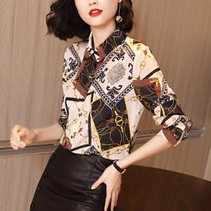 安妮纯印花雪纺衬衫2020春季新款长袖上衣气质翻领修身显瘦衬衣女