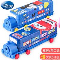 迪士尼文具盒小学生笔盒男童创意汽车造型铅笔盒二层铁盒幼儿园儿童米奇铁皮马口铁文具盒可爱卡通