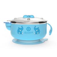 宝宝吃饭碗勺注水保温碗不锈钢 儿童餐具套装吸盘碗婴儿辅食碗