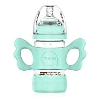 宽口径带手柄吸管套 奶瓶婴儿玻璃奶瓶宝宝硅胶