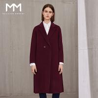 商场同款MM麦檬冬装新款100%羊毛双面呢大衣毛呢外套