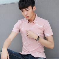 2018夏季新款短袖衬衫男韩版修身免烫青少年休闲印花衬衣
