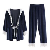 金丝绒睡衣套装女长袖春秋女士时尚性感欧美风磨毛睡衣家居服 藏青色