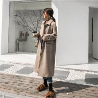 2018秋冬流行毛呢外套女韩版新款中长款加厚呢子小个子赫本风大衣