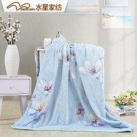 水星家纺 花欣雨意法兰绒毯旅行保暖空调毯床上用品秋冬新品