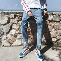 2018夏季新款港风潮男直筒哈伦九分牛仔裤男韩版潮流学生裤子