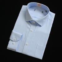 春秋衬衫男长袖蓝色工装纯色素色寸衫正装商务免烫衬衣职业装
