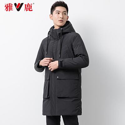 【一件三折 到手价:497.7】yaloo/雅鹿羽绒服男 中长款2018新款男士连帽保暖修身上衣潮