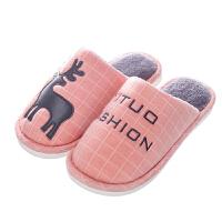 棉拖鞋女冬季室内防滑家居地板拖可爱卡通小鹿韩版情侣男士棉拖鞋