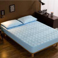 纯棉床笠单件加厚 保护套全棉乳胶棕垫床垫套 夹棉防滑床罩 蓝色 水纹