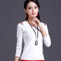 中国风女装 民族风上衣 春装绣花修身打底衫女 刺绣 长袖T恤
