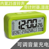 USB充电夜光静音学生床头闹钟倒计时器湿度音乐儿童多功能电子钟