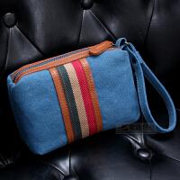 新韩版手包男士手拿包帆布女士休闲手抓包潮便携小包包手机零钱包 蓝色