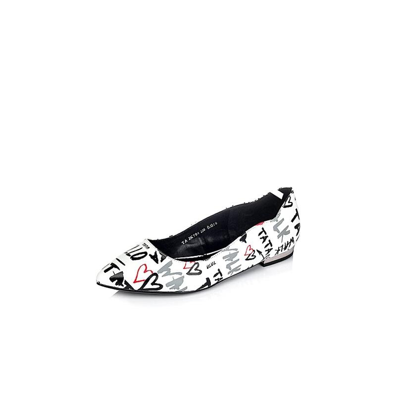 Tata/他她专柜同款人造革印花女休闲浅口单鞋2K704CQ6
