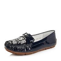 Belle/百丽秋专柜同款漆皮牛皮舒适豆豆鞋女单鞋BDM07CQ6