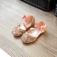 女童亮片舞蹈鞋新款包头蝴蝶结单鞋中大童公主鞋夏季