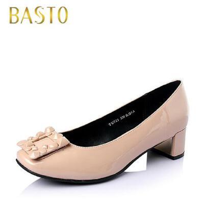 BASTO/百思图春季专柜同款漆皮牛皮时尚休闲女单鞋TU721AQ6