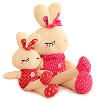 可爱生日礼物女红波点小兔子公仔毛绒玩具兔兔布娃娃玩偶儿童礼品