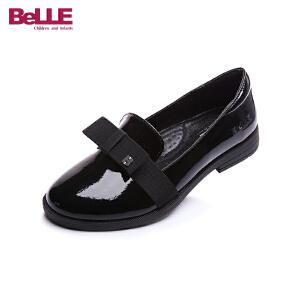 百丽童鞋女童皮鞋2017新款儿童黑色亲子鞋英伦风学生鞋中大童DE0310