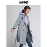 【清仓3折价227.7】Lagogo2019秋季新款女装通勤双排扣长袖中长款外套风衣HCFF238A52