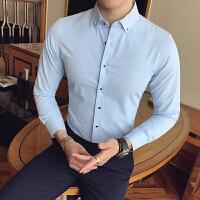新款发型师纯色男士瘦小个子修身S小码工装休闲长袖打底衬衫衬衣
