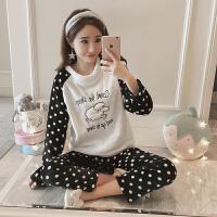 珊瑚绒睡衣女冬季韩版卡通学生甜美可爱加绒加厚家居服套装法兰绒 712波点绵羊