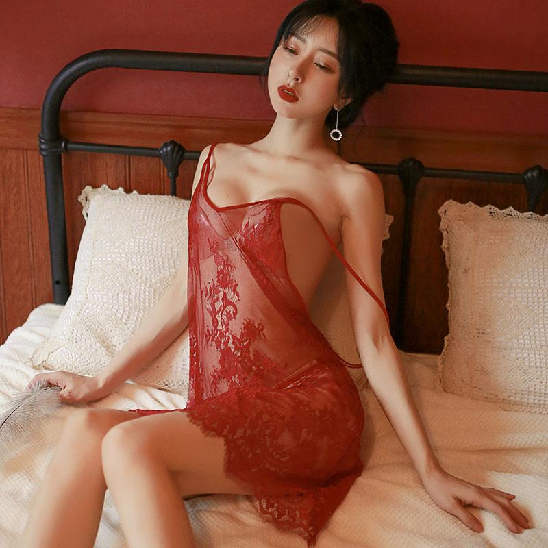 性感情趣内衣露背蕾丝吊带裙花边睡衣女士诱惑小胸调情夜店激情