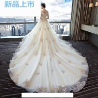 2018婚纱礼服新娘结婚拖尾公主梦幻欧美一字肩孕妇大码显瘦夏