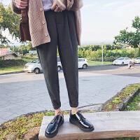 秋冬新品英伦气质港风休闲裤舒适男式宽松纯色百搭青少年长裤