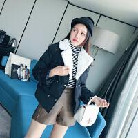 【33】短款棉衣女冬季韩版纯色西装领百搭chic面包服