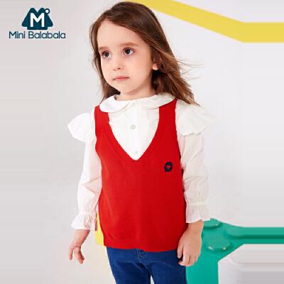 迷你巴拉巴拉女童针织马甲春秋春装新款宝宝儿童V领背心3-6岁