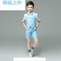 儿童演出服套装夏马甲短裤合唱蓝色粉色白色男童礼服儿童走秀礼服