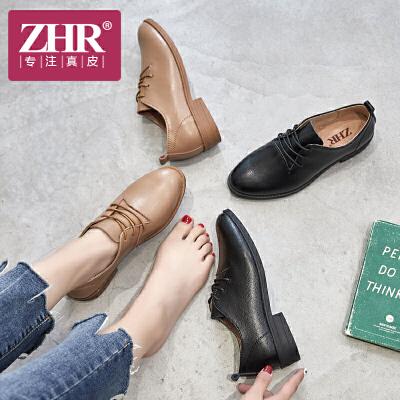 ZHR2018春季新款英伦风软妹小皮鞋粗跟单鞋女平底休闲鞋真皮女鞋E133