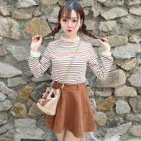 韩版学院风甜美蕾丝拼接长袖打底衫春季新款女装学生显瘦条纹T恤