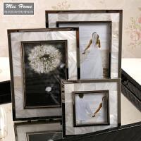 20180907145734696新古典欧式样板房相框6寸7寸贝壳个性创意组合相框摆台相架装饰品 银色天然贝壳