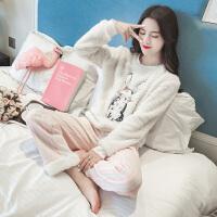 睡衣女冬季甜美可爱珊瑚绒清新学生韩版公主风秋法兰绒家居服卡通