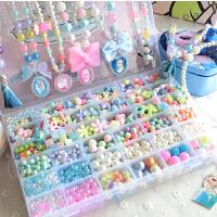 儿童手工串珠益智玩具女孩饰品制作小孩手链项链diy材料包穿珠子
