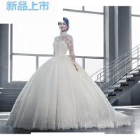 秋冬新品蕾丝一字肩中长袖新娘拖尾婚纱礼服