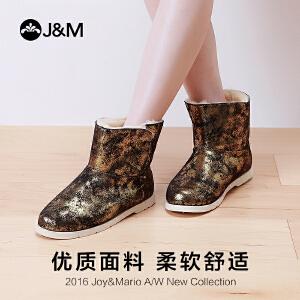 【低价秒杀】jm快乐玛丽女鞋冬季平底加绒雪地靴女短筒靴子保暖短靴棉鞋61789W