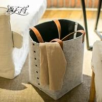 毛毡布艺脏衣篓放脏衣服的篮子家居收纳桶日式风格可折叠