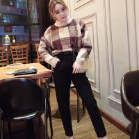 冬季新款韩版半高圆领套头格子蝙蝠袖宽松毛衣+长裤套装女潮