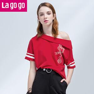 Lagogo2017年夏季新款一字领露肩大领口T恤短袖上衣女宽松短款