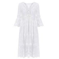 2018春装新款仙女V领蕾丝连衣裙中长款白色刺绣雪纺度假风沙滩裙
