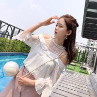 衬衫女长袖2018夏装新款韩蕾丝露肩上衣设计感白衬衣潮