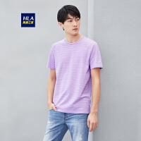 HLA/海澜之家镂空条纹短袖T恤经典圆领短T男