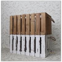 镂空收纳箱子 复古装饰陈列储物箱木筐可叠无盖