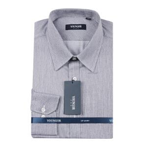 Youngor/雅戈尔秋季男装商务正装纯棉灰色免烫长袖衬衫DP1443-12