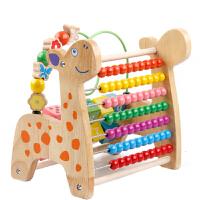 儿童绕珠玩具女孩一岁半女孩宝宝串珠积木 【原木】小鹿绕珠款